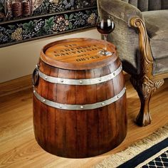 Unique French Wine Barrel End Table Wood Metal Bar Cocktail Man Cave Crafted Art #Unbranded #RusticPrimitive