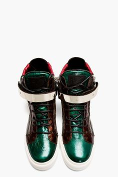 GIUSEPPE ZANOTTI Red Iridescent Leather Colorblock London Sneakers