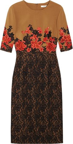 Pecan brown stretch slim sheath dress overlayed with black lace. The lace and plain sections are connected with bright coral leaves embroidery. By Erdem  - Lyst