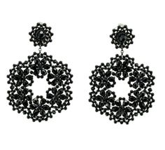 Hand beaded earrings in Onyx Swarovski crystals by Miguel Ases with posts