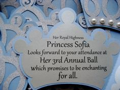 Cinderella Inspired Princess Crown Invitation -this could be cute for J girl's party! Cinderella Invitations, Princess Party Invitations, Birthday Invitations, Invites, Cinderella Birthday, Princess Birthday, Girl Birthday, Princess Sofia Party, Disney Princess Party