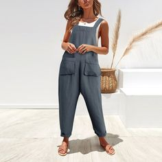 NREALY Jumpsuit Womens Round Neck Bat Short Sleeves Waist Loose Solid Color Casual Jumpsuit