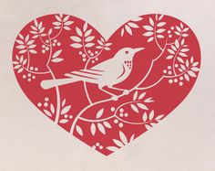 Red Valentine's Day Heart Bird Lover T shirt (silk screened) - gift ideas for her