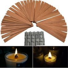 US $7.12 50 PCS 12.5 x 150mm Wood Candle Wicks with Sustainer Tab Supplies Velas Candele Wick for Candle DIY Making For Home Church Deco. Aliexpress product best #candle #making