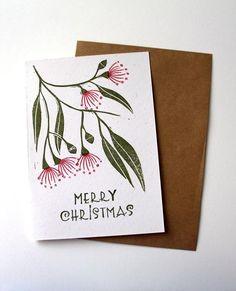 Items similar to Christmas card, Australian xmas card, flowering gum card, hand printed card, block printed card, linoprint card, Xmas card, greeting card on Etsy