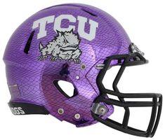 TCU purple chrome football helmet 7 TCU Purple Hydro Chrome Football Helmet Close Up Photos Football Rules, Football Usa, Football Design, Football Cleats, Sports Uniforms, Team Uniforms, Sports Teams, American Football, Collage Football
