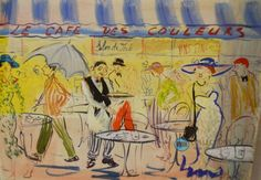 #Marc Clauzade: Le Cafe Des Couleurs 50 x 70 cm 19 11/16 x 27 9/16 inches Gouache on paper painting  Framed