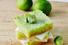 Lemon bars with a twist of lime. These lemon lime bars are perfect for a summer picnic or party. Lime Bar Recipes, Lemon Recipes, Lemon Desserts, Just Desserts, Dessert Recipes, Spring Treats, Dessert Bars, Dessert Food, Lemon Lime