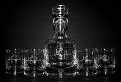 Engraved Taylor Whiskey Decanter Set w/ Custom Signature - Personalized Groomsmen Gift