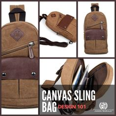 CANVAS LEATHER SLING BAG FOR MEN (Brown Type) 100% Guarantee Genuine Excellent Canvas Sling Bag  & pu leather Size approximately 7.5″ L x 2.7″ D x 12″ H inches (19cm L x 7cm D x 30.5cm H) Color: Coffee Weight: 0.48KG. 1 lbs Long strap be able to adjust length freely, this sling bag may do three uses: chest bag, messenger bag, backpack. Livid hardware Zipper top closure There is a zipper pocket, a magnetic pocket in the front, a zipper pocket on the back There is nice durable fabric,a zipper…