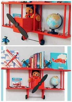 airplane bookshelf for a kids room - would be easy to DIY too!