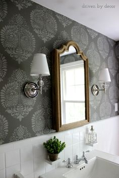 I like the wallpaper Stenciled wall with the Annapakshi Indian Damask Wall stencil from Royal Design Studio - DIY Bathroom Makeover styled by Driven by Decor Diy Bathroom, Budget Bathroom, Bathroom Renos, Laundry In Bathroom, Small Bathroom, Bathroom Shelves, Damask Wall Stencils, Wall Stenciling, Wc Decoration