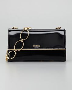 Prada Spazzolato Chain Shoulder Bag, Nero
