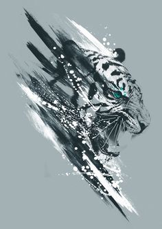 Awesome White Tiger Tattoo Design is part of Awesome Tiger Tattoo Designs With Meanings - Awesome black and white tiger Style Watercolor Tags Cool, Best, Creative Wolf Tattoos, Lion Tattoo, Animal Tattoos, Strong Tattoos, Tiger Tattoo Design, Tiger Design, Fu Dog, Tiger Art, Tiger Drawing
