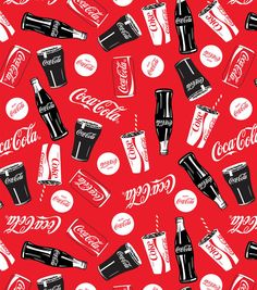 Coca Cola Bottle Can Allover Fleece Fabric