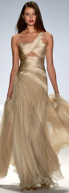 Golden Beige Gown by Carlos Miele