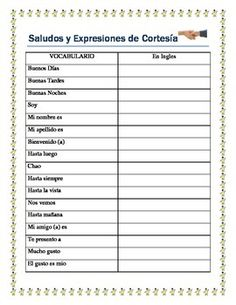 Greetings in spanish spanish worksheets and spanish lessons back to school greetings saludos y expresiones de cortesia spanish i m4hsunfo Gallery