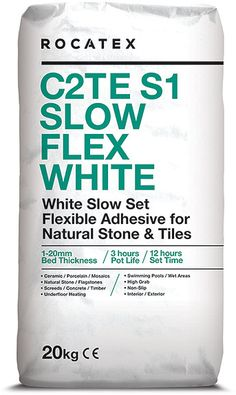 ROCATEX C2TE S1 Slow Flex White Tile Adhesive - Lovely lovely deals are mega, especially with Free Delivery built-in. a single part, flexible wall and floor tile adhesive for fixing natural stone and tiles including ceramics, porcelain and mosaics to a variety of substrates. Suitable for interior and exterior use. Visit Buy The Pallet.co.uk for more mega deals Electric Underfloor Heating, Plasterboard, Adhesive Tiles, Tongue And Groove, Wire Brushes, Wall And Floor Tiles, White Tiles, Stone Tiles, Heating Systems