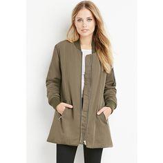 Forever 21 Oversized Bomber Jacket ($48) ❤ liked on Polyvore featuring outerwear, jackets, pocket jacket, forever 21 jacket, padded jacket, long sleeve jacket and oversized jacket