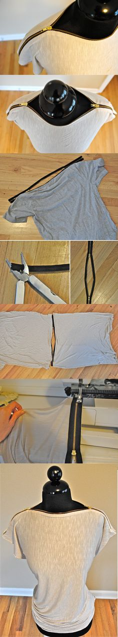 DIY zipper t-shirt