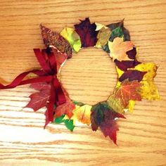 Fall Crafts For Kids: Leaf Wreath fall-crafts-and-recipes Fall Crafts For Kids, Thanksgiving Crafts, Toddler Crafts, Holiday Crafts, Art For Kids, Harvest Crafts For Kids, September Kids Crafts, Autumn Art Ideas For Kids, Autumn Activities For Kids