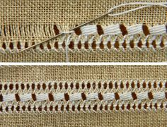 This Pin was discovered by Lin Embroidery Needles, Hand Embroidery Stitches, Embroidery Techniques, Cross Stitch Embroidery, Embroidery Designs, Hardanger Embroidery, Ribbon Embroidery, Lace Weave, Hem Stitch