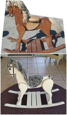 Before & After. Vintage Wooden Rocking Horse Restoration.