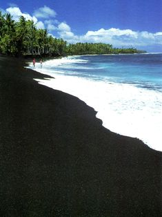 black sand beach hawaii-- I've actually been here! it's really cool, the sand is made of lava rocks that are really smooth! I'd love to go back to Hawaii now that im older! Hawaii Vacation, Maui Hawaii, Hawaii Travel, Dream Vacations, Vacation Spots, Hawaii Usa, Summer Vacations, Beach Travel, Oh The Places You'll Go