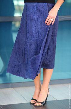 """Купить Юбка валяная  """"Beautiful blue"""" - юбка, войлок, теплая юбка, уникальный, валяная юбка"""