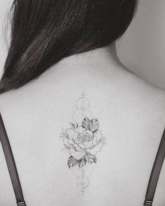 Beautiful peony and stars tattoo by New Zealand based artist Tritoan Ly