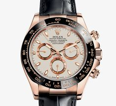 Rolex Cosmograph Daytona 40mm rose gold, ivory dial, leathr strap