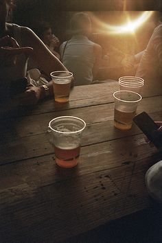Beer. Picnic table