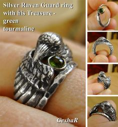 Sterling silver Raven ring with a companion - thin hammered ring set with green tourmaline or another stone of your choice.  This Raven wraps his wing snugly around your finger. He can be your familiar or totem and will protect you with his wing. The stone set in the companion ring can be hidden under Ravens wing to symbolize extra protection (as shown in photo number 4). The Raven is a spiritual guide and assistant. He can also be a watchful guard.  The Raven ring was carved in wax. You can…