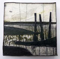 Marshscape Collage #10/16, Linen, wax, 20 x 20 cms