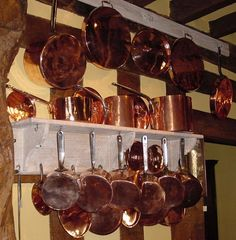 Dreaming of copper pans . . . these are antique Victorian pans . . .