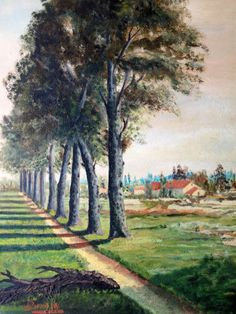 Path under the trees - original French oil painting from 1930s. $200 including shipping