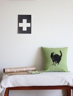 Screen printed, eco friendly pillow cover by Unni Strand. Styling and photo in interior with cross by Marcela Recondo.