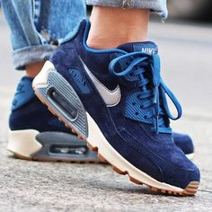 new arrival f7639 eaa5b Nike Navy Air Max 90 Sneakers Iconic retro-inspired running and leisure  sneaker from Nike. Classic suede rubber upper construction with logo  details and a ...
