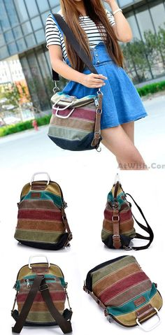 Retro School Multifunction Backpacks Shoulder Bag Handbag Splicing Colorful Striped Canvas Backpack for big sale! #stripe #canvas #backpack #bag #student #college