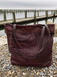 Made from pieces of an outdated red leather jacket. Handmade by Uptown Redesigns in New Orleans Red Leather, Leather Bag, Leather Jackets, Make And Sell, Dark Red, Bag Making, New Orleans, Upcycle, Handbags