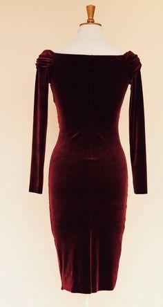 Cocktail dress burgundy velvet dress midi dress evening | Etsy