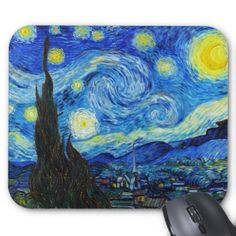 SOLD! - Cool Starry Night Vincent Van Gogh painting Mouse Pad