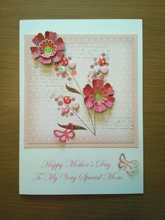 Mothers day card using candi dots and craftwork flowers.