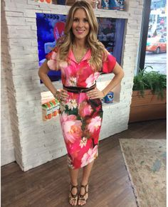 Wednesday, March 19th | Dina's outfit included: Ted Baker London Rose On Canvas Print Dress with Belt $360.00 Le Chateau Gold Multi Chain Necklace $25.00 WHITE HOUSE BLACK MARKET Set of 4 Gold Bangles $48.00 HUDSON'S BAY Gold Hoop Earrings $14.00 Bobble Ring $10.50 Ivanka Trump Bronze Heels $195.00