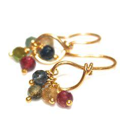 Rainbow Tourmaline Earrings Delicate Gold Earrings Minimalist Jewelry Gemstone FizzCandy, #rainbow, #tourmaline, #gold, #loop, #earrings, #simple