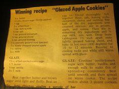 Grandma's Vintage Recipes: Glazed Apple Cookies.