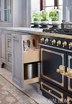 A pullout with drop-in bins keeps spoons, whisks, and other utensils handy. - Photo: Emily Jenkins Followill / Design: Matthew Quinn Kitchen Reno, Kitchen Remodel, Kitchen Counters, Kitchen Pantry, New Kitchen, Spice Drawer, Home Kitchens, Traditional Homes, Glass Domes