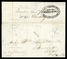 Forwarded by Thomas O. Larkin Monterey, California, bold oval backstamp on folded letter with integral address leaf datelined Monterey March 7, 1846 to Boston, Mass., endorsed  pr Brig Hannah and carried to Mazatlan, Mexico, then overland to V