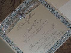 Glitter / Brooch Pocket Wedding Invitation - Winter Wedding Invitation