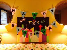 Powerpuff Girl Birthday Party Decor: Bunting with Birthday Poster